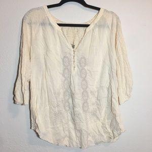 Nine West vintage western collection cream blouse